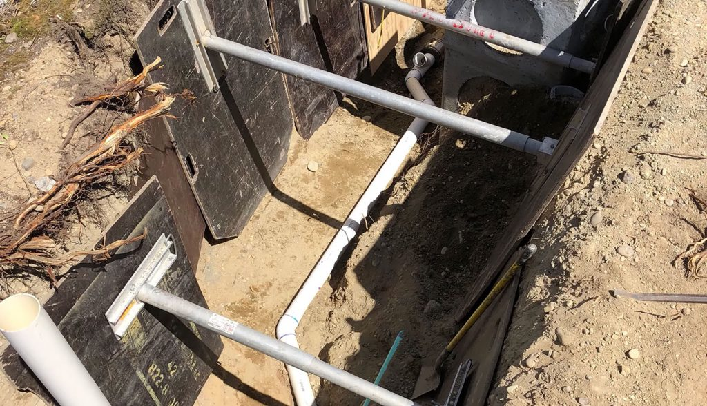 pipes in trench in ground